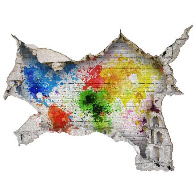 3D Wandtattoo - Weiße Backsteinwand Weltkarte - Quer 3:4