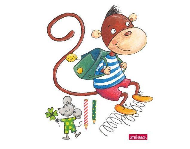 Wandtattoo Affe und Maus auf dem Weg zur Schule