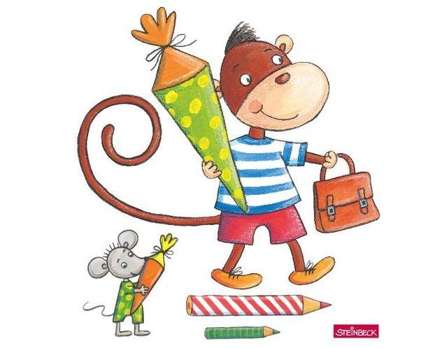 Wandtattoo Affe und Maus bei der Einschulung