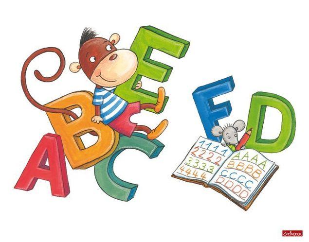 Wandtattoo Affe und Maus lernen Schreiben