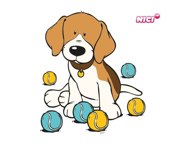 Wandtattoo Beagle mit bunten Bällen