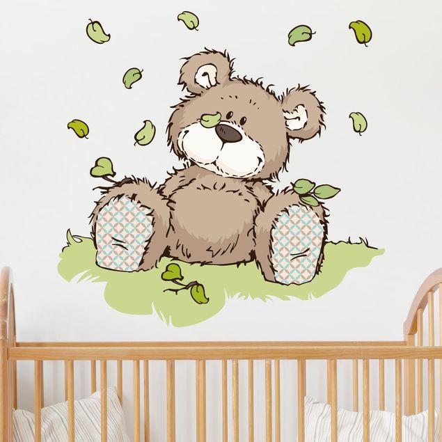 Wandtattoo Classic Bear Blätterhaufen