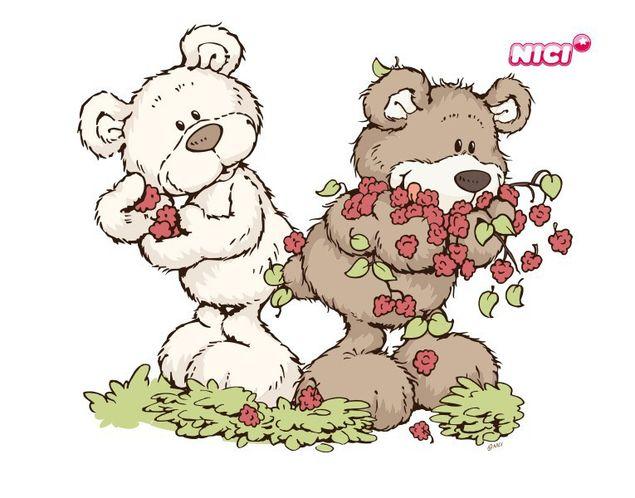 Wandtattoo Classic Bear Himbeeren sammeln
