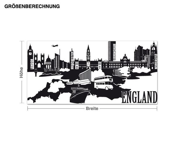 Wandtattoo Detailierte England Skyline