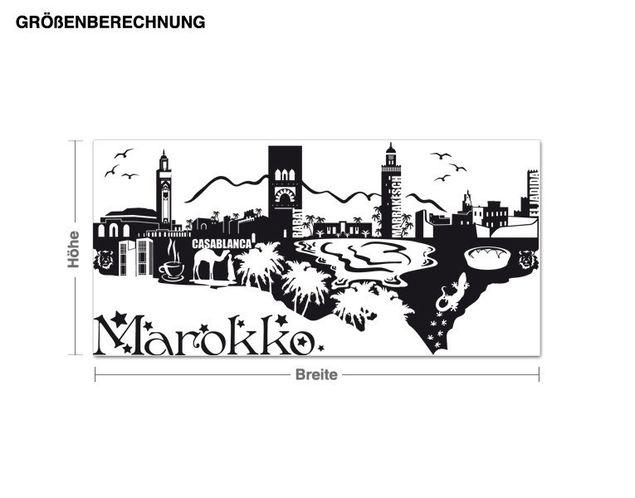 Wandtattoo Detailierte Marokko Skyline