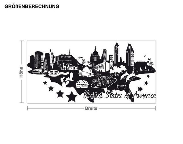 Wandtattoo Detailierte USA Skyline