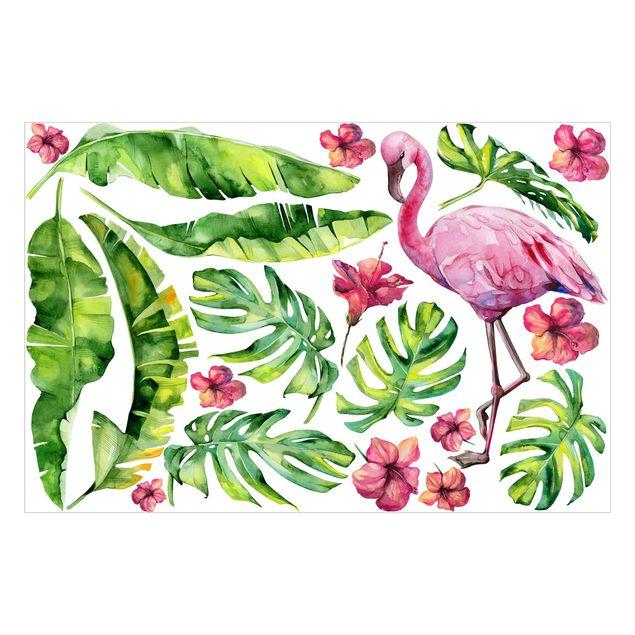 Wandtattoo Dschungel Flamingo Blätter Set