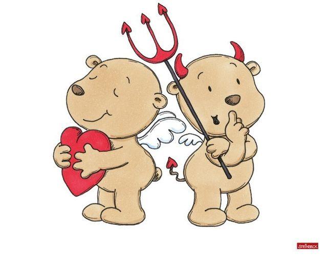 Wandtattoo Engel und Teufel Seite an Seite