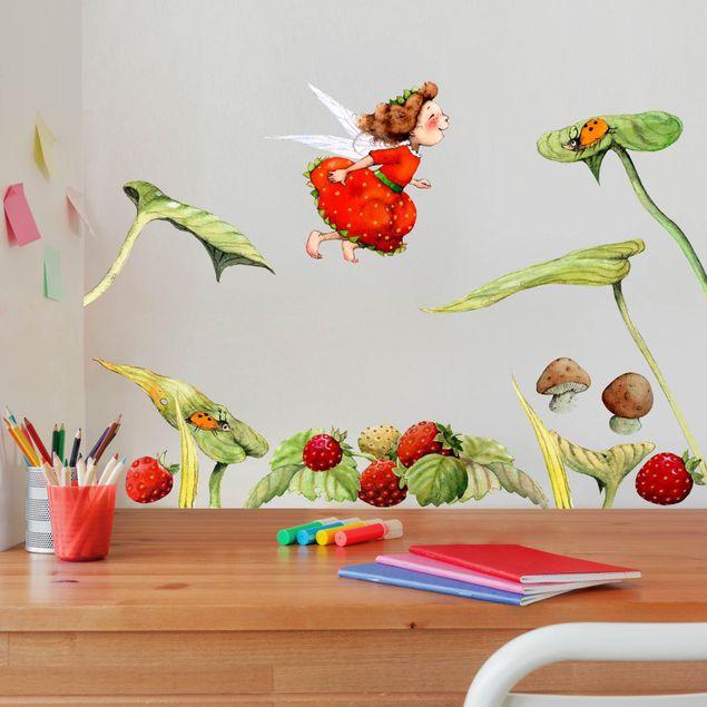 Wandtattoo - Erdbeerinchen Erdbeerfee - Blätter und Erdbeeren