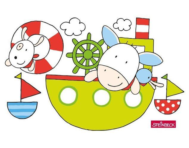 Wandtattoo Farmily fahren im Boot und gehen schwimmen