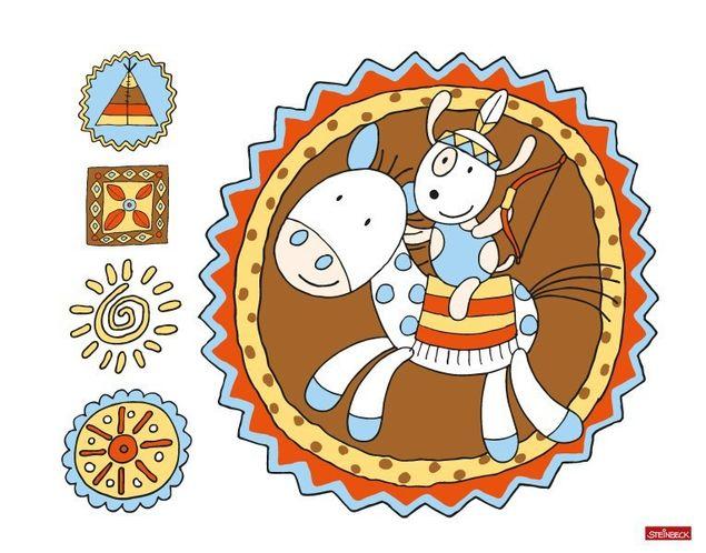 Wandtattoo Farmily Indianer auf Pferd