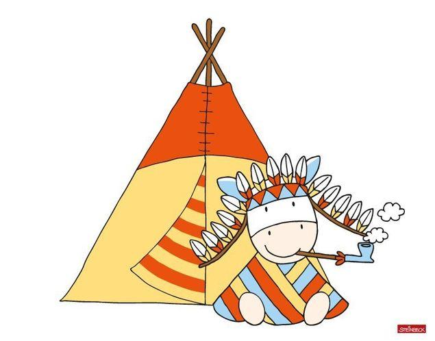 Wandtattoo Farmily Indianerhäuptling mit Friedenspfeife
