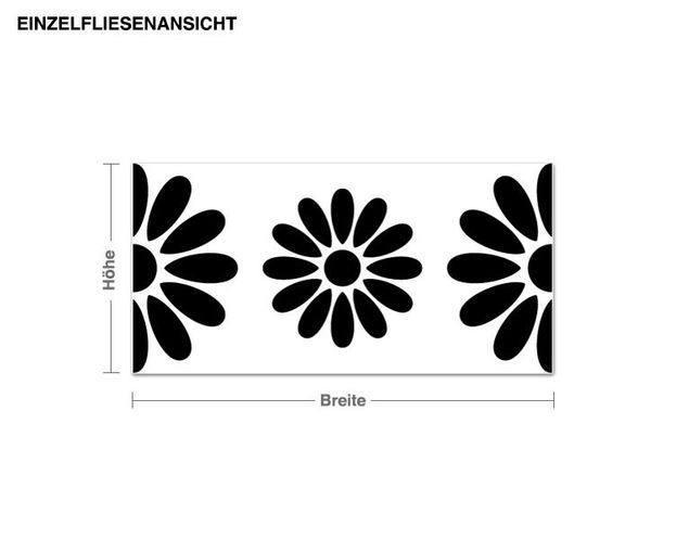 Wandtattoo Fliesen Blumen Bordüre (20 Stück)