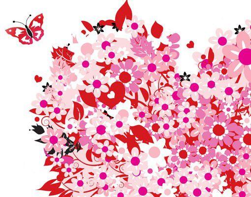 Wandtattoo Floral Schmetterling No.321 Floral Retro Heart