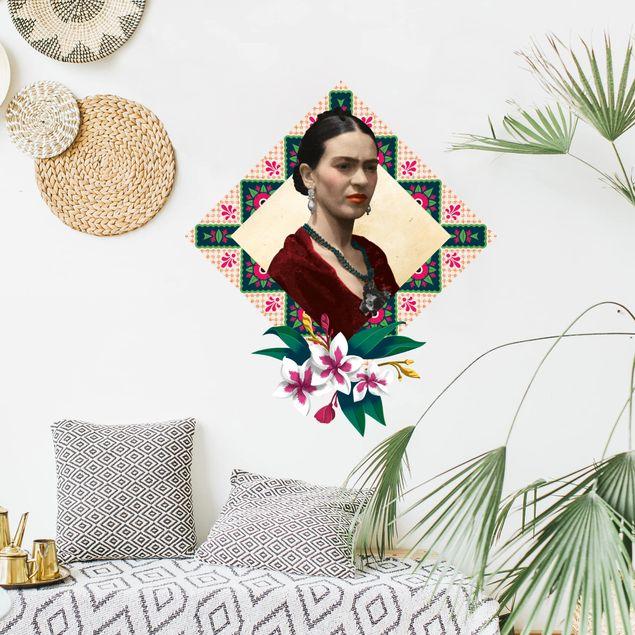 Wandtattoo - Frida Kahlo - Blumen und Geometrie