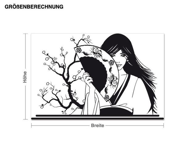 Wandtattoo Geisha mit Fächer