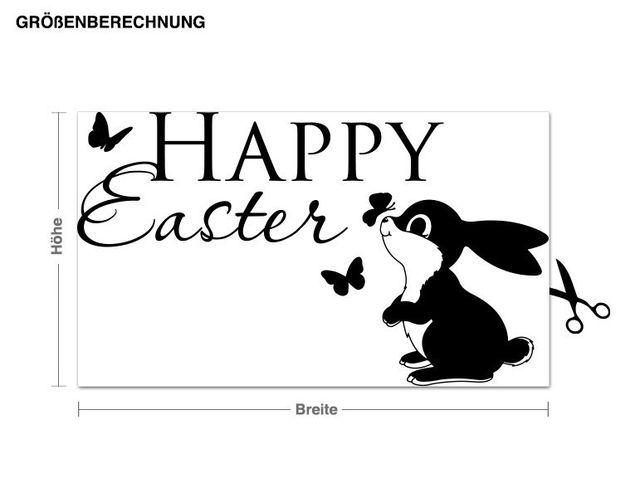 Wandtattoo Happy Easter Häschen & Schmetterlinge
