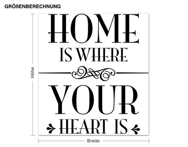Wandtattoo Home is where your heart is