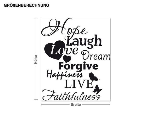 Wandtattoo Hope Laugh Live