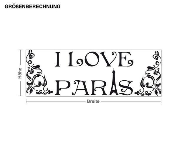 Wandtattoo I love Paris cadre