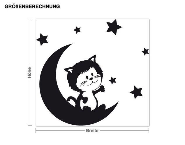 Wandtattoo Kätzchen auf dem Mond
