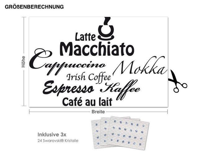 Wandtattoo Kaffee inkl. 3x 15 Swarovski® Kristalle
