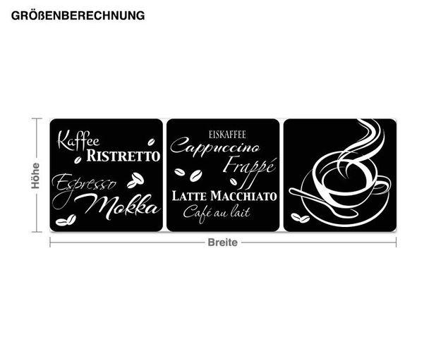 Wandtattoo Kaffeesorten Trio