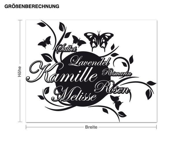 Wandtattoo Kamille, Lavendel und Rosmarin