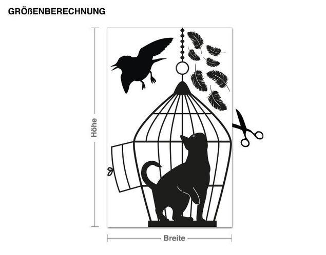 Wandtattoo Katze im Vogelkäfig
