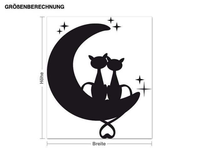 Wandtattoo Katzen auf dem Mond