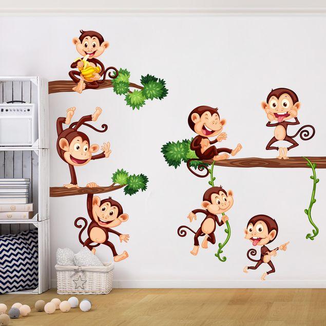 Wandtattoo Kinderzimmer Affenfamilie