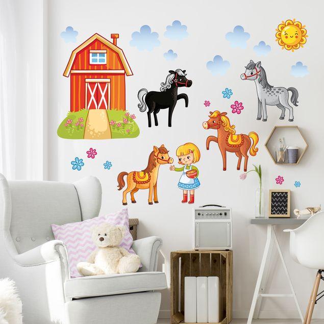 Wandtattoo Kinderzimmer Bauernhof Set Mit Pferden