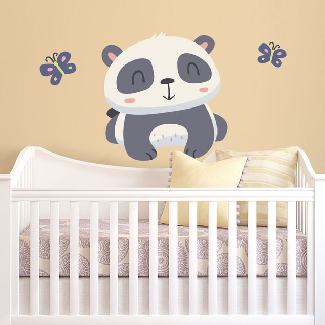 Wandtattoo Kinderzimmer Panda mit Schmetterlingen