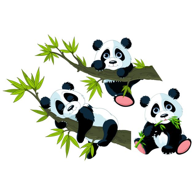 Wandtattoo Kinderzimmer Pandabären Set