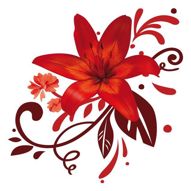 Wandtattoo Lilie No.BP7 Lilientraum red