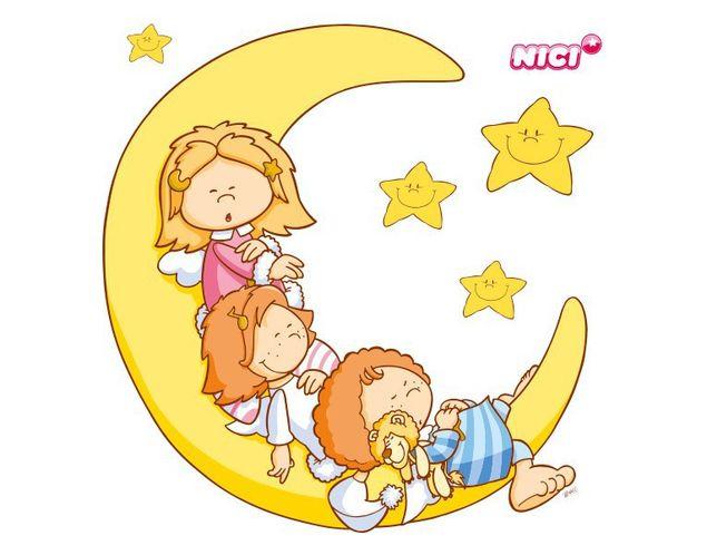 Wandtattoo Little Wingels auf dem Mond