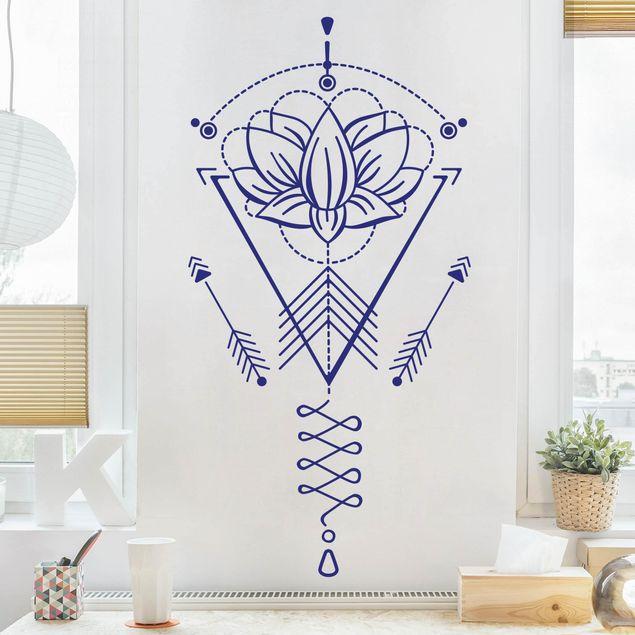 Wandtattoo - Lotus Unalome mit Pfeilen