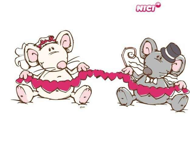 Wandtattoo Mäusepärchen mit Herzgirlande