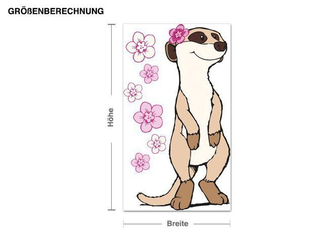 Wandtattoo Meerkat mit Blumen