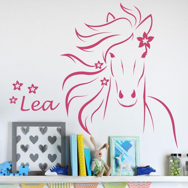 Wandtattoo mit Wunschtext - Pferd mit Wunschname - Wandtattoo Pferd