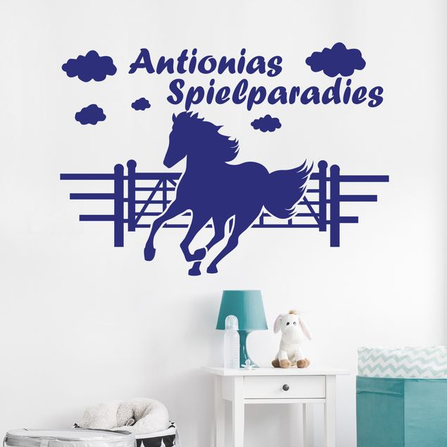Wandtattoo Pferd mit Wunschtext - Pferdekoppel mit Wunschname - Wandtattoo Pferd