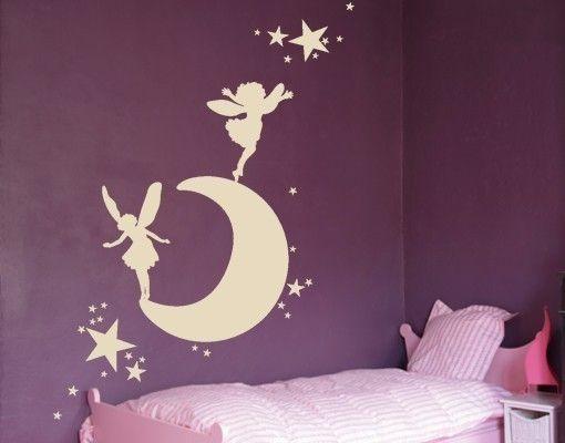 Wandtattoo Mond mit Elfen
