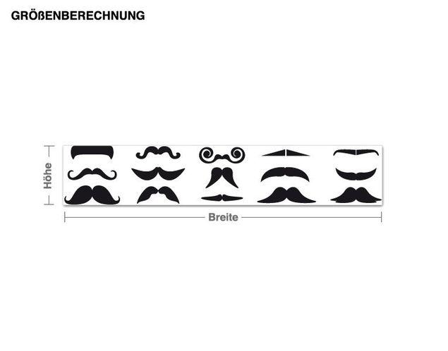 Wandtattoo Moustache Set