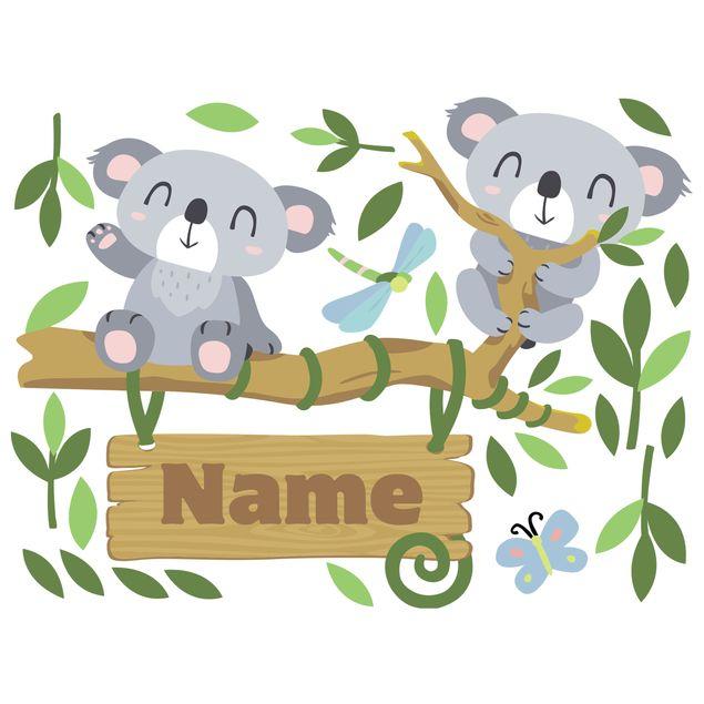 Wandtattoo Namen Kinderzimmer - Koala Baum - Wunschtext