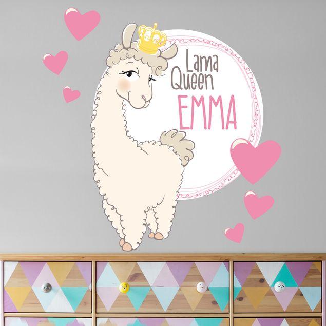Wandtattoo Lama Queen Wunschtext