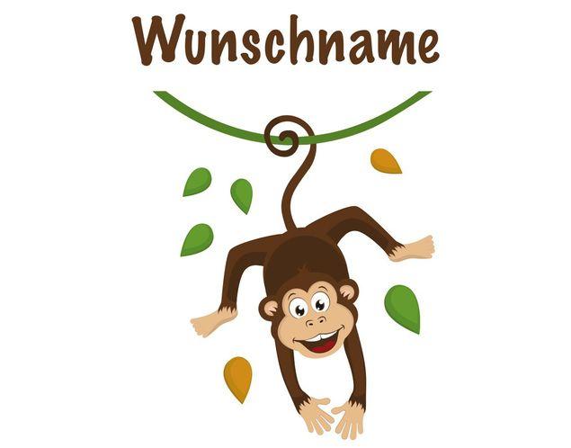 Affen Wandtattoo + Name - No.YK30 WunschText Affenkind - Kinderzimmer Affe