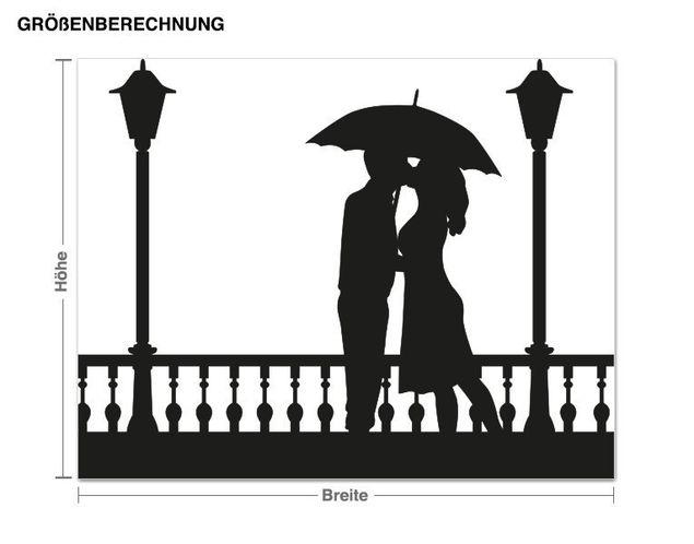 Wandtattoo Paar mit Regenschirm