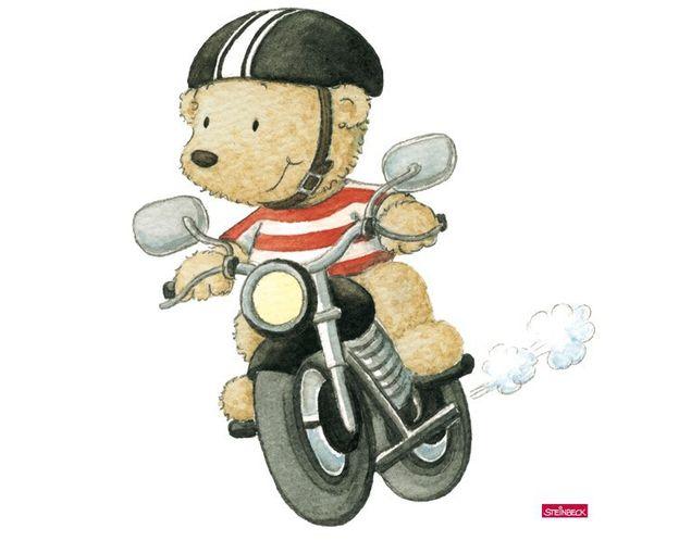 Wandtattoo Pitzelpatz fährt Motorrad