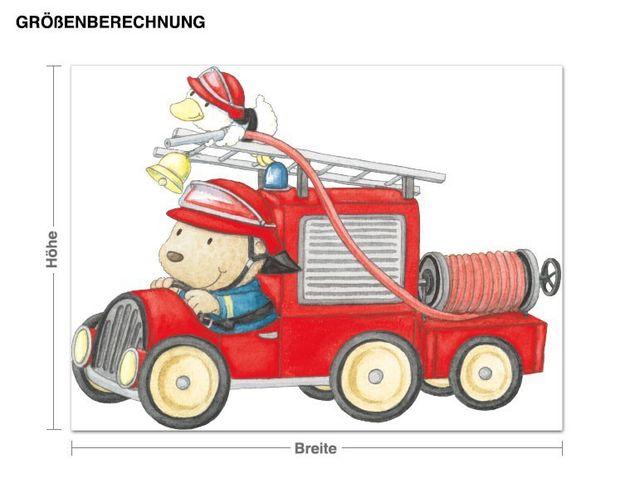 Wandtattoo Pitzelpatz und Schnaddeldatz im Feuerwehrauto