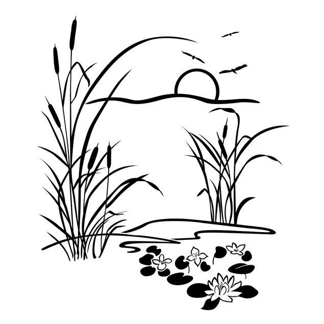 Wandtattoo - Schilf mit Seerosen
